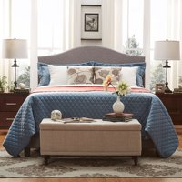 Weston Home Alicia Camelback Nailhead Linen Upholstered Bed-Multiple Sizes & Colors