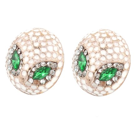 Woman Ear Accent White Owl Design Rhinestones Inlaid Stud Earrings Pair