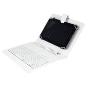 Felji White Stand Leather Case Cover for 8 Inch Android Tablet Universal with USB Keyboard