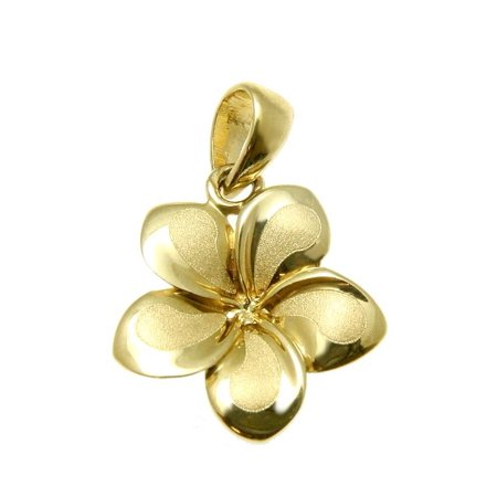 14K Solid yellow gold 13mm Hawaiian tropical plumeria flower charm pendant