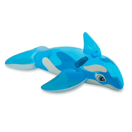 Intex Lil' Whale Inflatable Kids Swimming Pool Ride On Water Float Raft, Blue