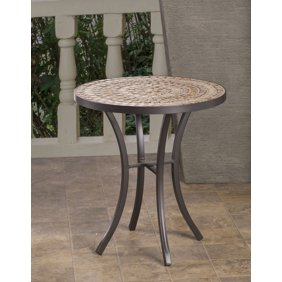 Round Ceramic Mosaic Outdoor Side Table