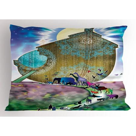 Noah's Ark Pillow Sham Animals of the World Bible Story on