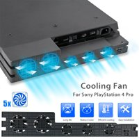 5Fan Super Turbo Temperature Control Cooling Fan Cooler for Playstation4 PS4 Pro
