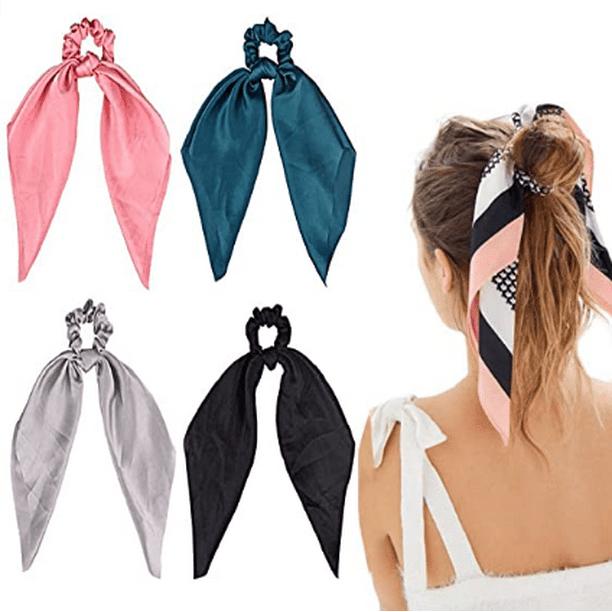 Rabbit Ears Hair Scrunchie Bunny Ears Hair Bow Tie Girls//Women Ponytail Holder