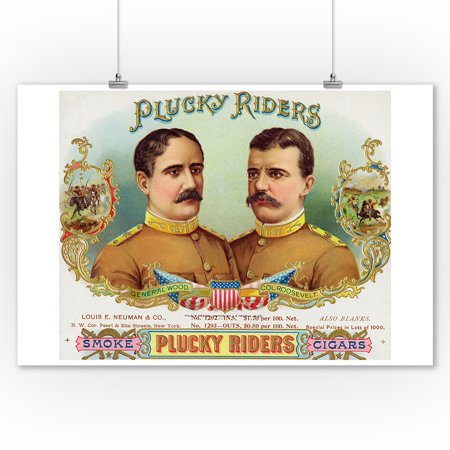 Plucky Riders Brand Cigar Box Label - Gen. Wood and Col. Roosevelt (9x12 Art Print, Wall Decor Travel Poster)