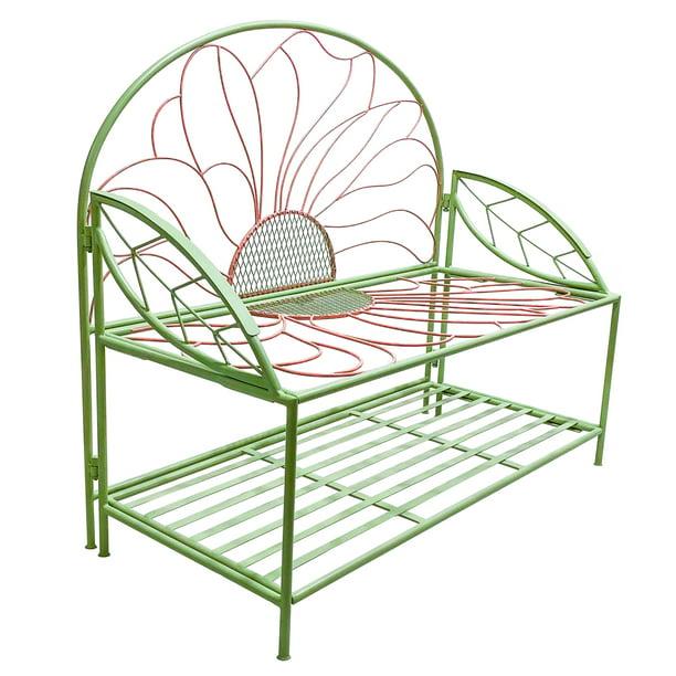 Evergreen Floral Metal Garden Storage Bench, 43''x 20'' x 38