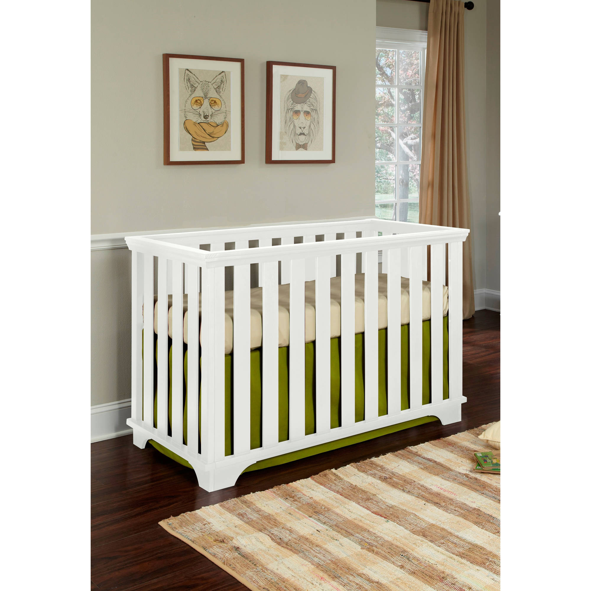Imagio Baby Midtown Island 3-in-1 Convertible Fixed-Side Crib, White