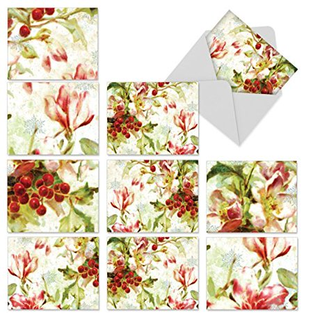 'M6039 M6039 Holly Days' 10 Assorted All Occasions Note Cards Featuring Holly Berries Painted In Watercolors with Envelopes by The Best Card