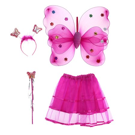 4pcs/set Angle Girls Fairy Costumes Dual-layer Headband Wand Tutu Skirt Set (Rose Red)