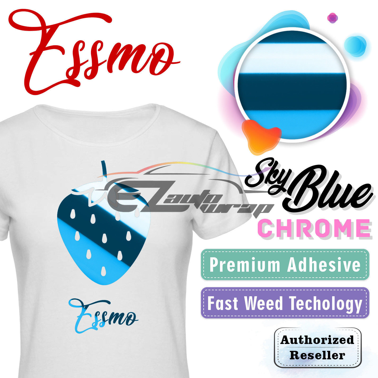 "ESSMO Sky Blue Chrome Heat Transfer Vinyl HTV Sheet T-Shirt 20"" Wide Iron On Heat Press 20""x12"""