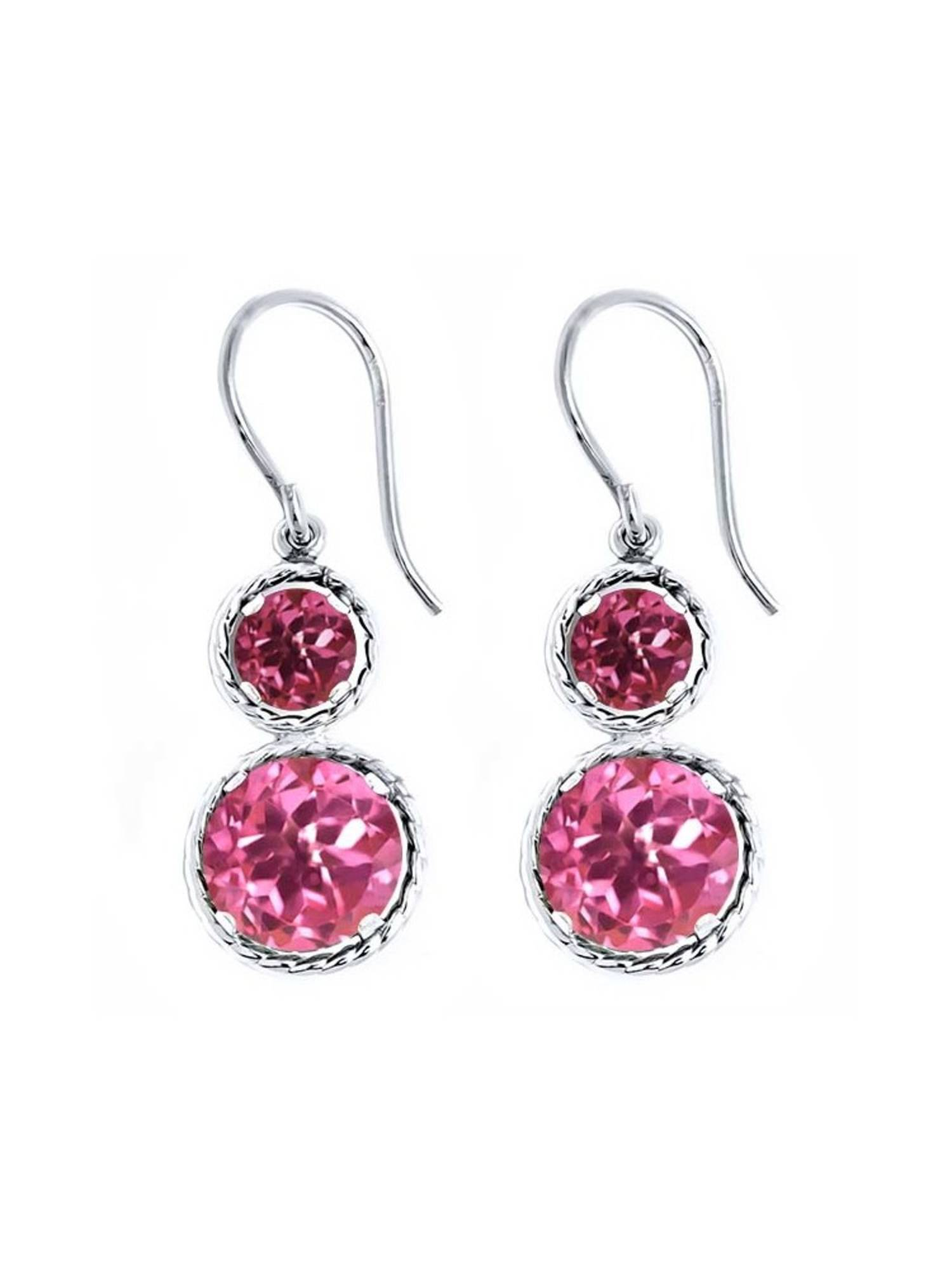 5.70 Ct Round Pink Mystic Topaz Pink Tourmaline 925 Sterling Silver Earrings by