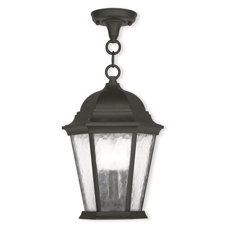 Outdoor Pendants 3 Light With Clear Water Cast Aluminum Textured Black size 10 in 180 Watts - World of Crystal