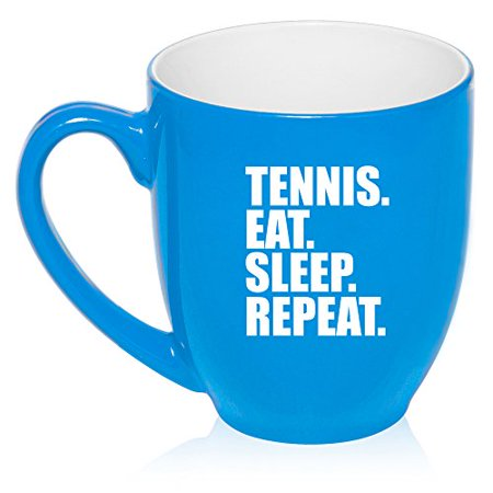 16 oz Large Bistro Mug Ceramic Coffee Tea Glass Cup Tennis Eat Sleep Repeat (Light Blue)