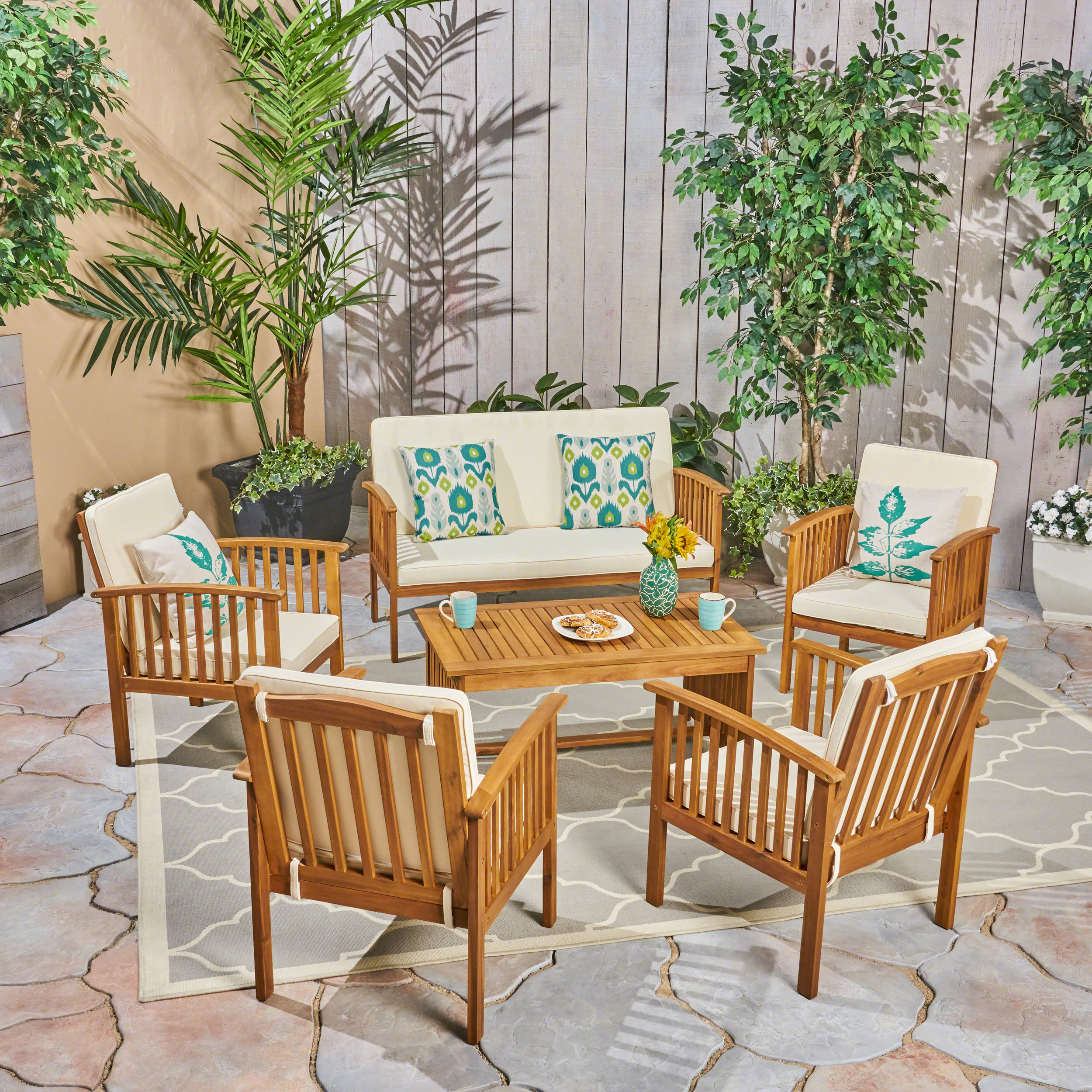 Brendon Outdoor 6 Piece Acacia Wood Chat Set with Cushions, Brown Patina, Dark Teal