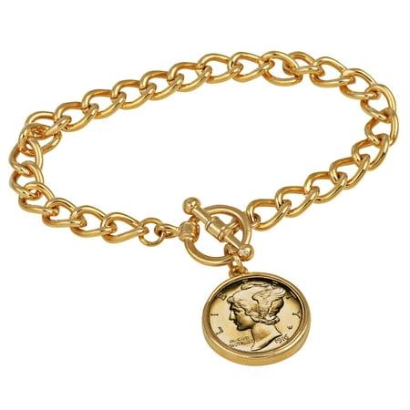 24KT Gold Plated Silver Mercury Dime Goldtone Coin Toggle Bracelet