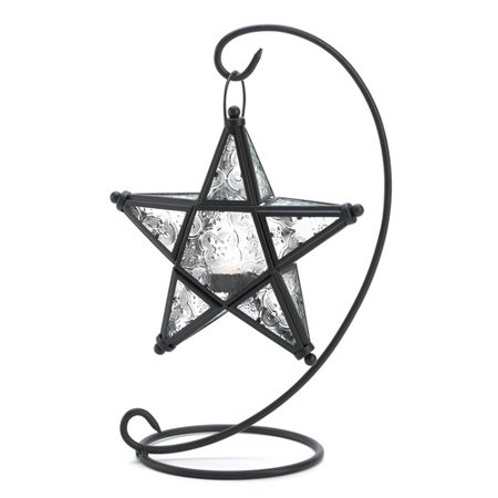 Zingz & Thingz Clear Star Iron and Glass - Cast Iron Lantern