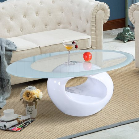 Uenjoy Glass Oval Coffee Table Living Room Furniture, White ...