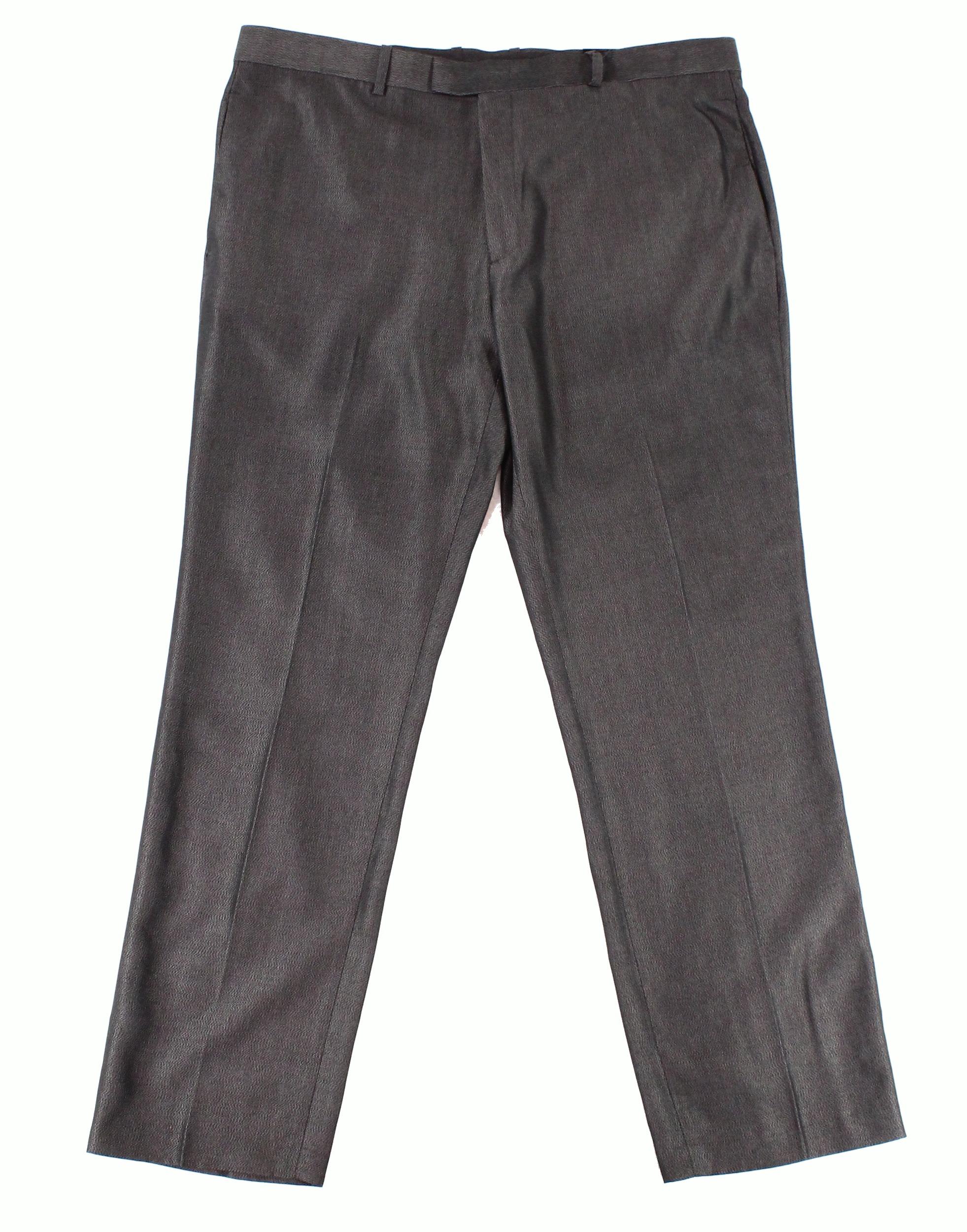 Alfani NEW Black Mens Size 38X32 Embossed Dress Flat Front Pants