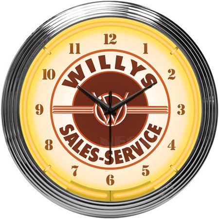 Neonetics Willys Sales Service Jeep Neon Clock
