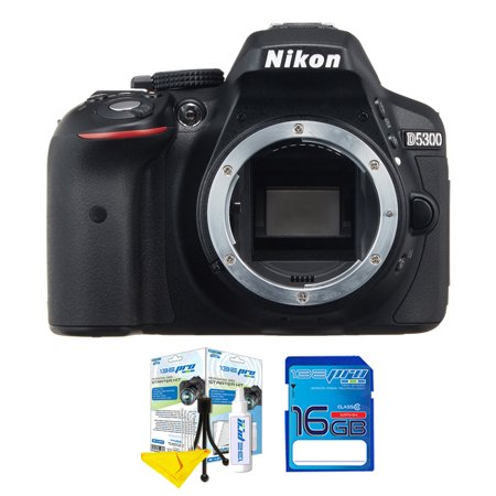 Nikon D5300 DSLR Camera (Body) + Cleaning Starter Kit & I3ePro 16GB SD Card