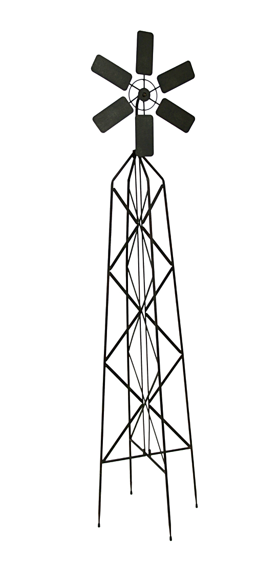 Dark Brown Metal Windmill Garden Trellis 62 in. by Mayrich Company