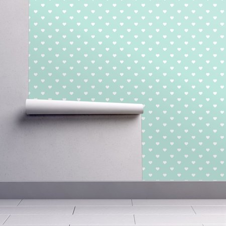 Peel-and-Stick Removable Wallpaper Hearts Cute Heart Polka Dots Mint