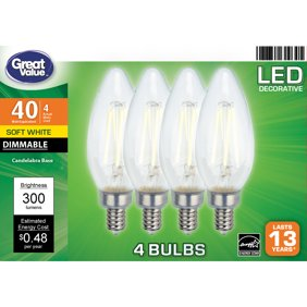 Great Value LED Light Bulb, 4 Watts (40W Equivalent) B10 Deco Lamp E12 Candelabra Base, Dimmable, Soft White, 4-Pack
