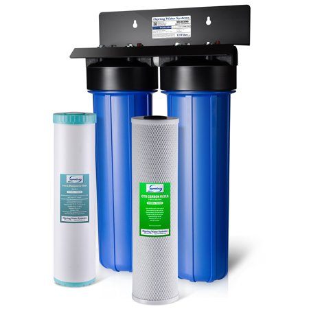 iSpring WGB22BM 2-Stage Big Blue Whole House Water Filtration System with 20-Inch Carbon Block and Iron Manganese Reducing Filter (Iron Filtration System)