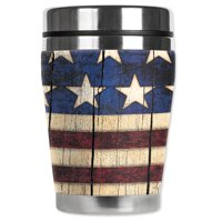 Mugzie brand 12-Ounce Travel Mug with Insulated Wetsuit Cover - Old Flag