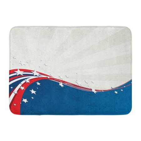 GODPOK White Patriot Patriotic with American Flag and Star Retro Design Independence Day 4Th of July Blue Rug Doormat Bath Mat 23.6x15.7 inch