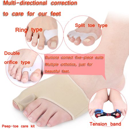 Feet Care Kit 9 PCS Fine Quality Hallux Valgus Orthosis Set Ring-type Split Toe Type Double Orifice- type Peep-toe Care Kit Tension Band Peep Toe Satin Rubber