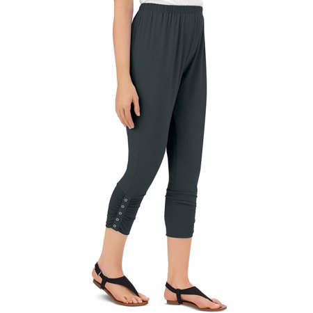 - Women's Button Accent Cinched Capri Leggings for Pairing with Tunics & Tops, Xx-Large, Black