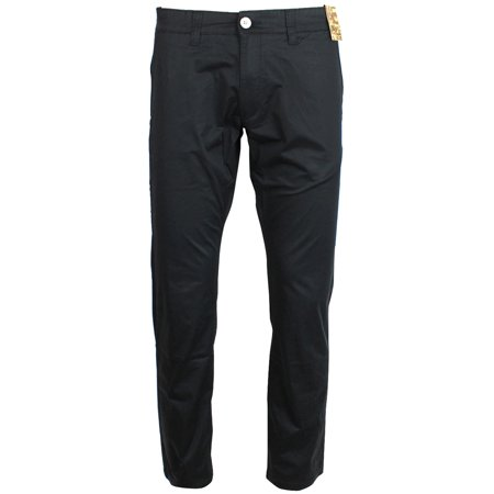 Black Straight Leg Trousers - Jack South London Men's Slim Fit Straight Leg Casual Pants Chino Trousers Jet Black