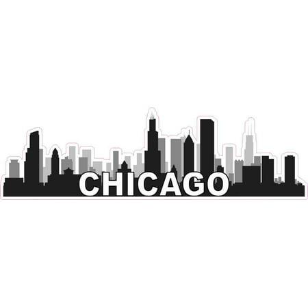 10in x 3in Chicago Skyline Sticker Travel Car Window Decal Bumper Stickers - Chicago Blackhawks Car Decal