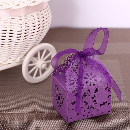 10PCS Delicate Carved Flower Elegant Candy Boxes with Ribbon for Party Birthday Wedding Banquet Kindergarten Bridal Shower--Purple