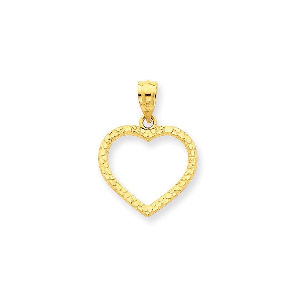 14k Yellow Gold D/C Nugget Heart Pendant