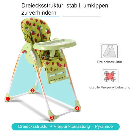 Folding Baby High Chair Infant Toddler Feeding Booster Seat