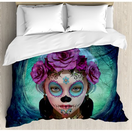Horror King Size Duvet Cover Set, Scary Clown like Girls Showing her Hands with Gloves an Flowers in Her Head Print, Decorative 3 Piece Bedding Set with 2 Pillow Shams, Multicolor, by Ambesonne - Witch King Gloves