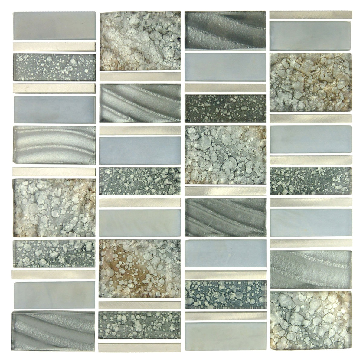 Abolos- Imperial Random Sized Glass and Aluminum Kitchen Wall, Bathroom Backsplash Mosaic Tile in Silver Sea (5sqft, 5pc Box)