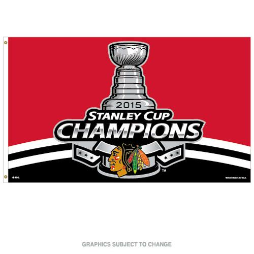 Chicago Blackhawks Official NHL 3'X5' 2015 Stanley Cup Champions Banner Flag by Wincraft