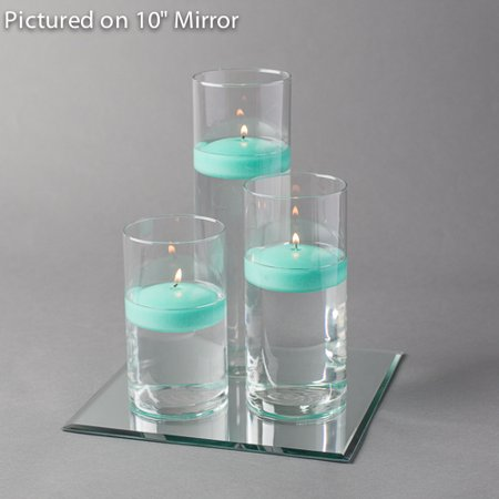 Eastland Square Mirror 10 And Cylinder Vase With 3 Aqua Blue