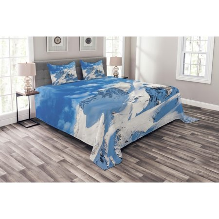 Mountain Bedspread Set, Mountain Landscape Ski Slope Winter Seasonal Sport Telfer and Snowboarding Image, Decorative Quilted Coverlet Set with Pillow Shams Included, White Blue, by Ambesonne ()