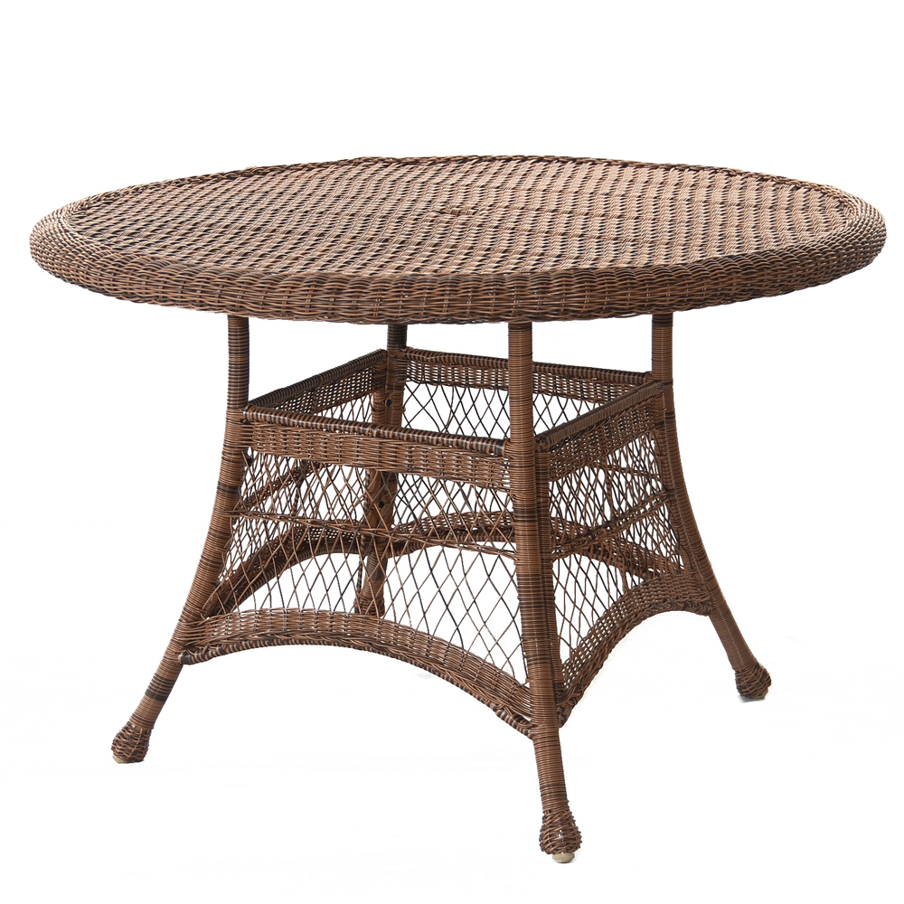 "44.5"" Honey Resin Wicker Weather Resistant All-Season Outdoor Patio Dining Table"