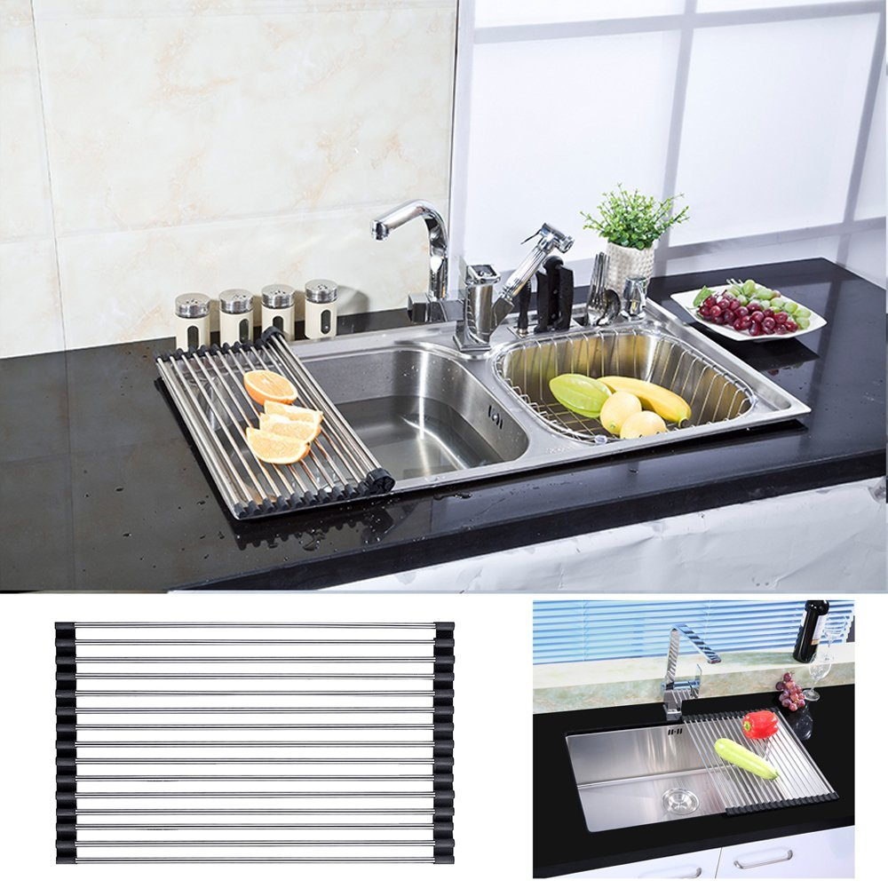 Roll Up Dish Drying Rack,iClover Over Sink Drain Racks Foldable Stainless Kitchen Drainer Rack Steel Drying Rack Rollable and Easy to Store(Black)