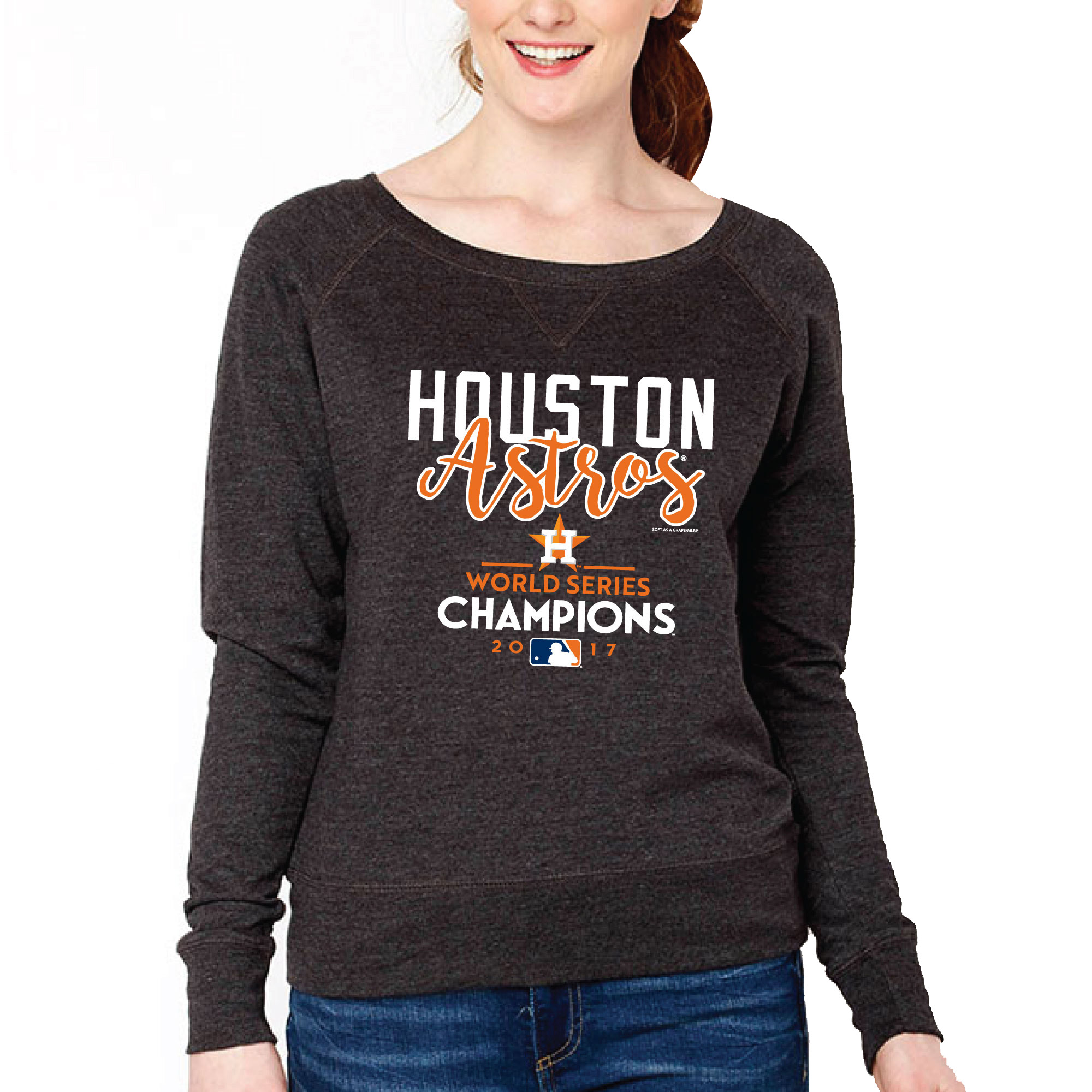 Houston Astros Soft as a Grape Women's 2017 World Series Champions Boatneck Pullover Sweatshirt - Charcoal