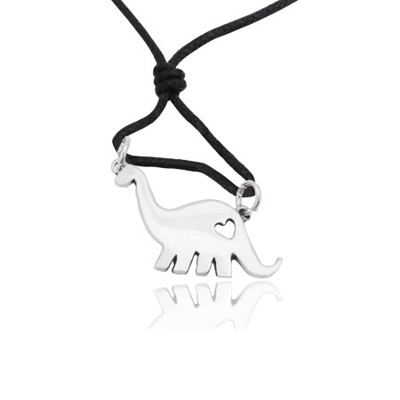 Pewter Heart - Dinosaurs with Heart Silver Pewter Charm Necklace Pendant Jewelry With Cotton Cord