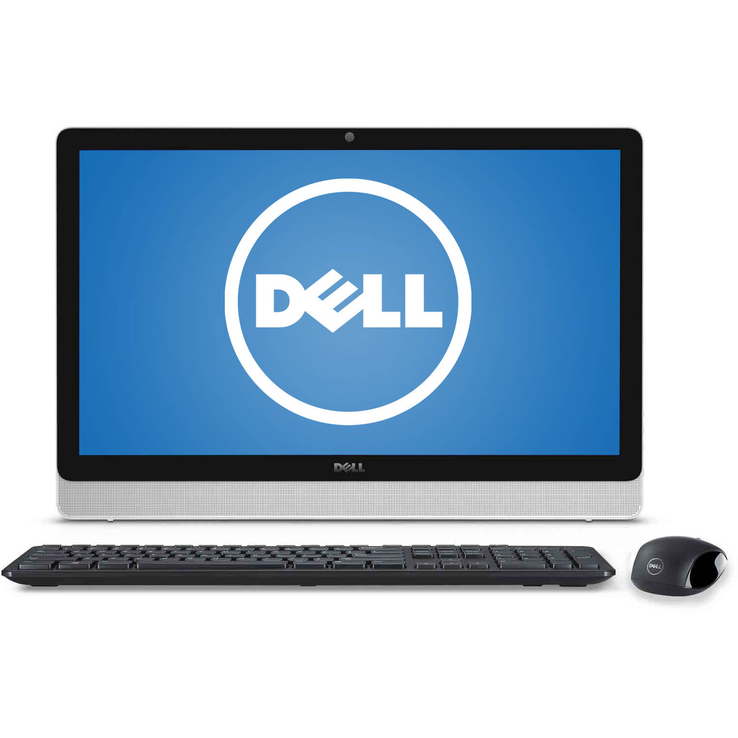 """Dell Silver/White Inspiron 3455 All-in-One Desktop PC with AMD Quad-Core A8-7410 Processor, 8GB Memory, 23.8"""" touch screen, 1TB Hard Drive and Windows 10 Home"""