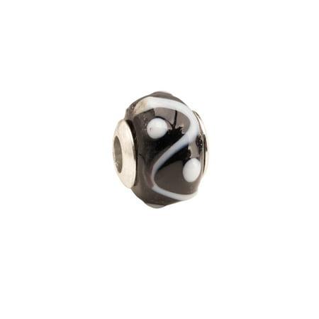 Black And White Yin/Yang Large Hole Beads Murano Lampwork European Glass Crystal Charms Beads Spacers Fit Pandora Troll Chamilia Carlo Biagi Zable Snake Chain Charm Bracelets 11x14mm 4pcs