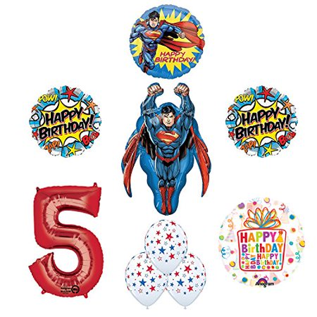 Superman Superhero 5th Birthday Party Supplies and Balloon - Superman Party Decorations